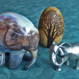 ~Trio Elephants and Wood by June Atkinson